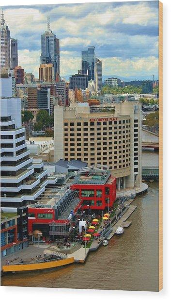 Yarra River City Block Of Primary Colors Wood Print