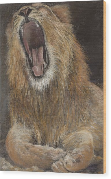 Yawn Wood Print