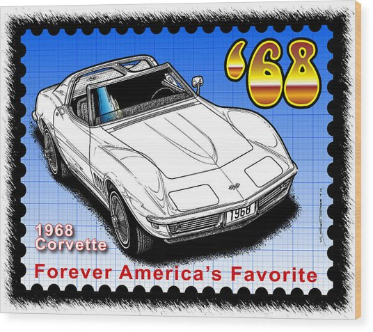 Year-by-year 1968 Corvette Wood Print