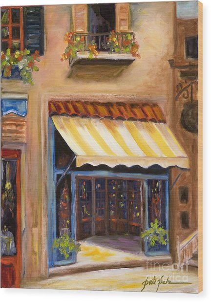Yellow And White Awning Wood Print