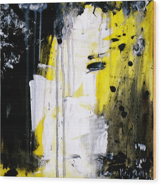 Yellow-black Wood Print by Kelly S