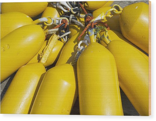 Yellow Buoys Wood Print