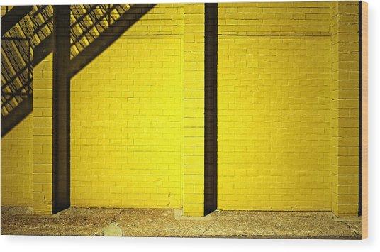 Yellow City Scene Wood Print