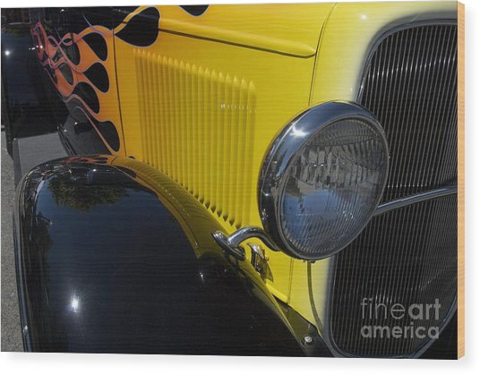 Yellow Flame Vintage Car Wood Print
