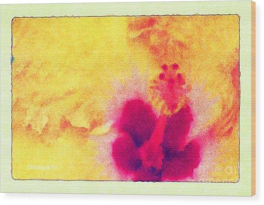 Yellow Hibiscus Flower Wood Print