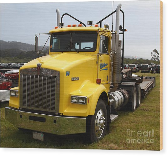 Yellow Kenworth Big Rig Truck 7d15118 Wood Print