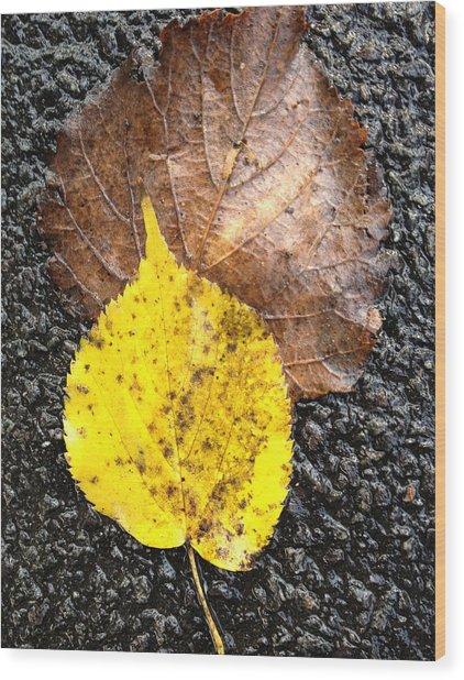 Yellow Leaf In Rain Wood Print
