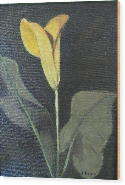 Yellow Lily Wood Print by Iris Nazario Dziadul