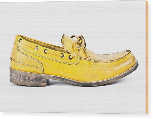 yellow Mens shoe Wood Print by Chavalit Kamolthamanon