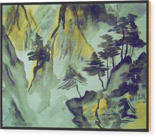 Yellow Orient Mountains Wood Print by Peggy Leyva Conley