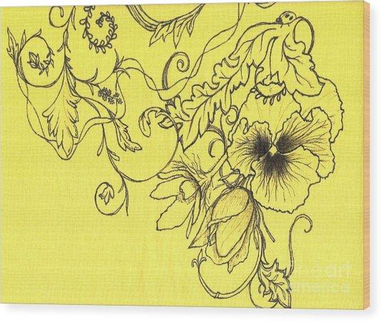 Yellow Pansy And Ladybug Wood Print