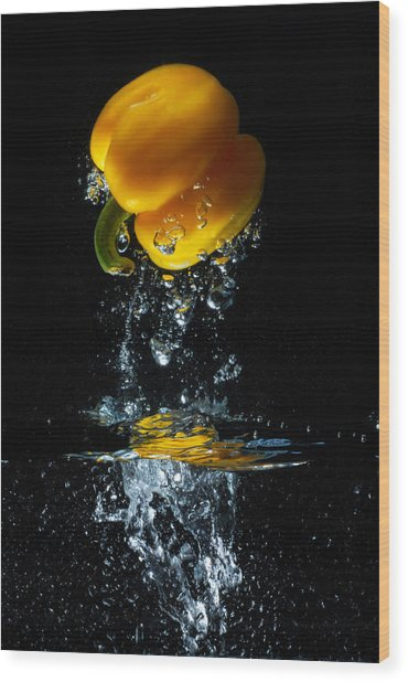 Yellow Pepper Escapes From Water Wood Print
