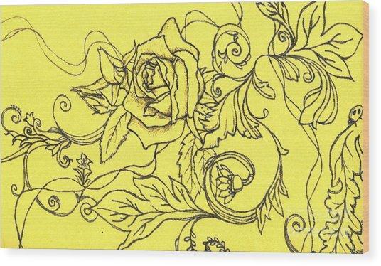 Yellow Rose And Ladybug Wood Print