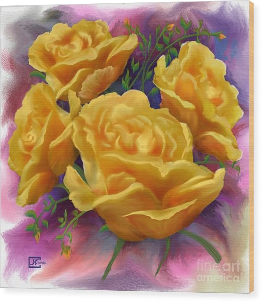 Yellow Roses Floral Art Wood Print by Judy Filarecki
