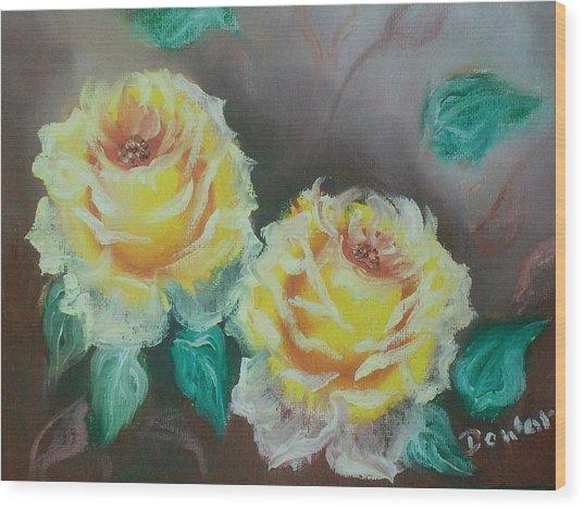 Yellow Roses Wood Print by Raymond Doward