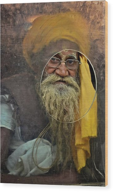Yellow Turban At The Window Wood Print