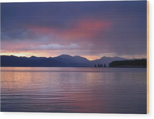 Yellowstone Lake Sunrise IIi Wood Print