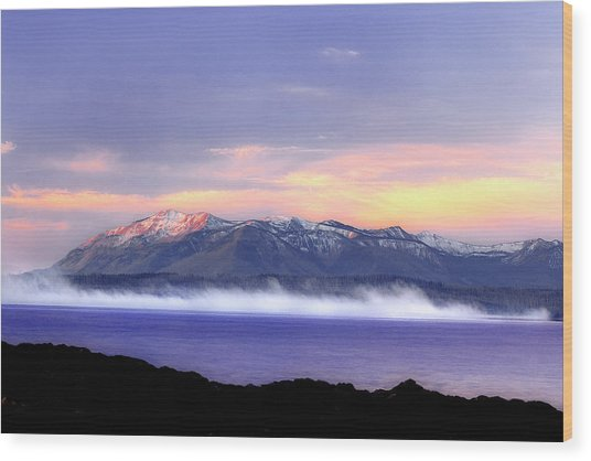 Yellowstone Lake Sunrise Wood Print by Tony Gayhart