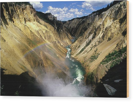 Yellowstone River Over The Falls Wood Print