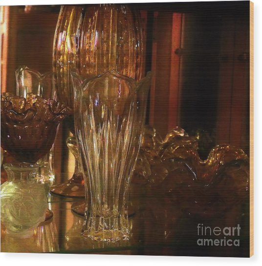 Yesturdays Glass Collection Wood Print by Marsha Heiken