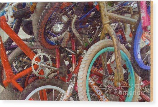Yikes Bikes Wood Print
