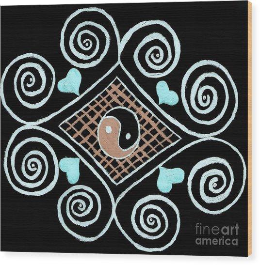 Yin Yang Swirls On Black Wood Print by Jeannie Atwater Jordan Allen