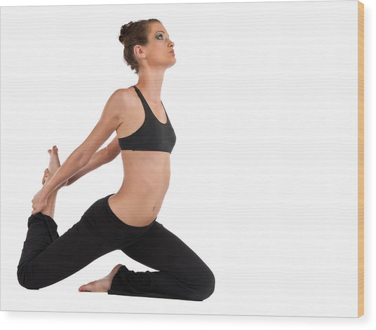 Yoga King Pigeon Pose Wood Print