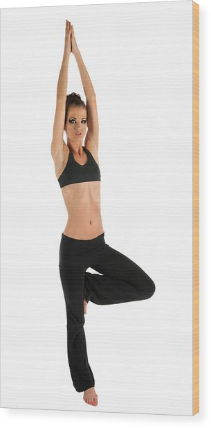 Yoga Pose Tree Wood Print