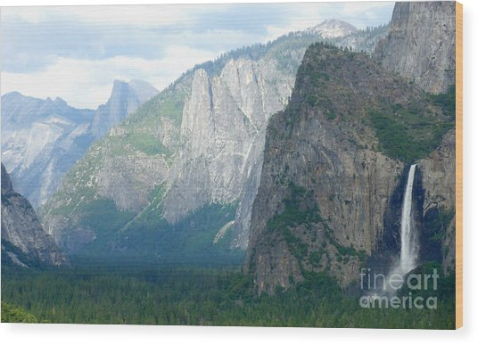 Yosemite Bridalveil Fall Wood Print