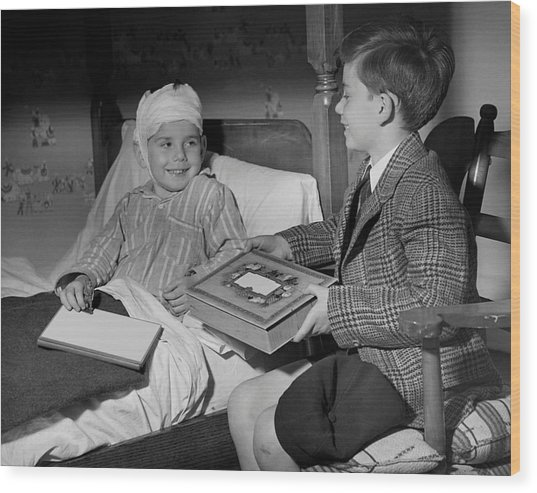 Young Boy Visiting Sick Friend Wood Print by George Marks
