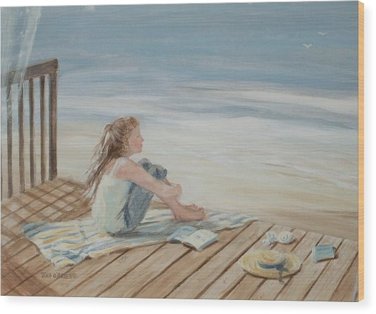 Young Christina By The Beach Wood Print by Tina Obrien