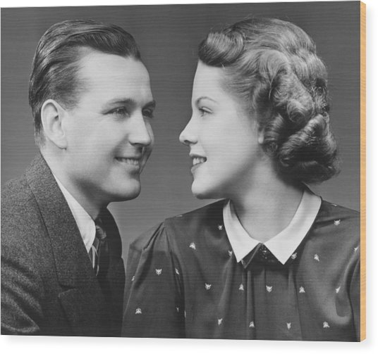Young Couple Looking In Eyes In Studio, (b&w), Portrait Wood Print by George Marks