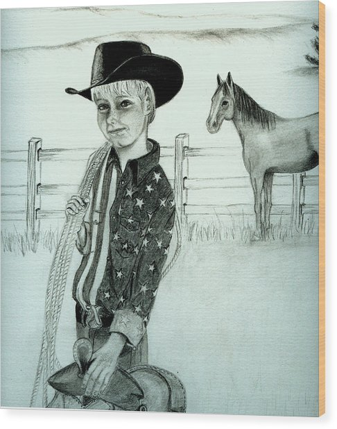Young Cowboy Wood Print by Carolyn Ardolino