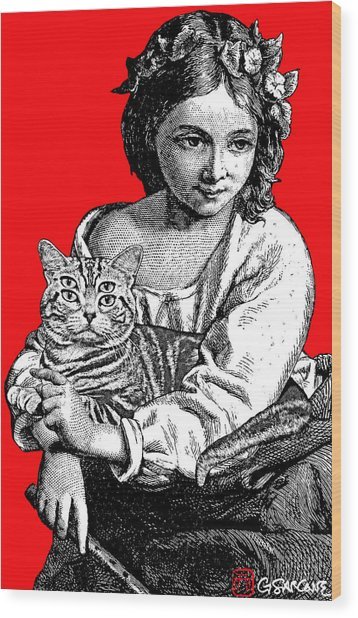 Young Girl With Cat Wood Print
