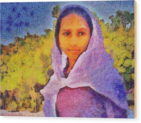 Young Moroccan Girl Wood Print