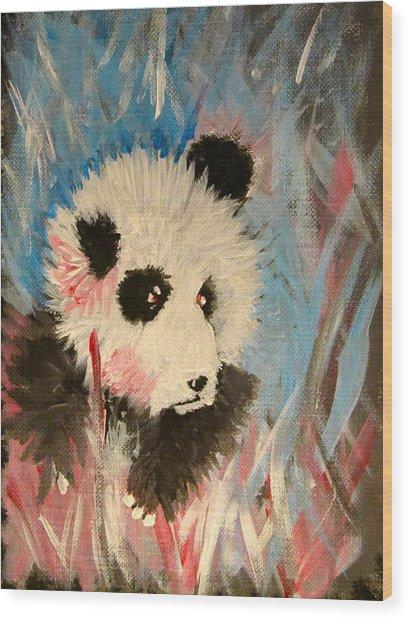 Young Panda Wood Print by Hannah Stedman