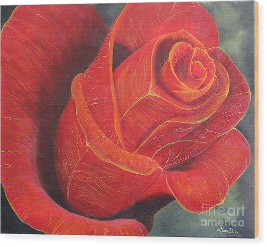 Young Rose Wood Print by Gina DeRuggiero