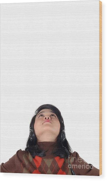 Young  Woman Looked Up To The Top And Enjoying The Music  Wood Print by Antoni Halim