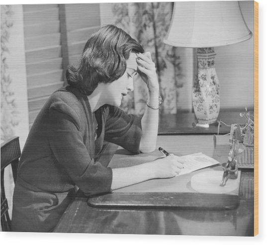 Young Woman Writing Letter At Desk, (b&w) Wood Print by George Marks