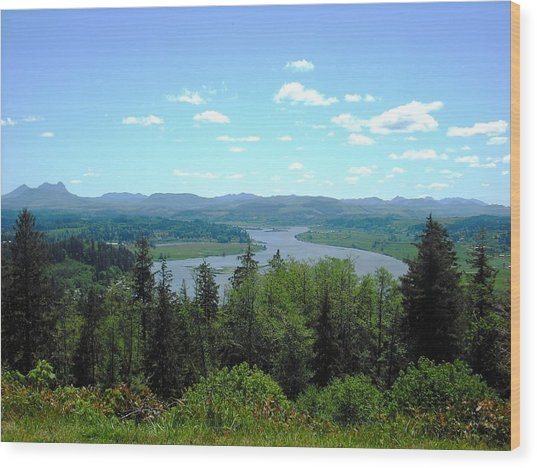 Youngs River And Saddle Mountain Wood Print