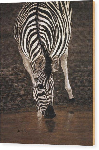 Wood Print featuring the painting Zebra by Karen Zuk Rosenblatt