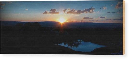 Zia Sun Over Tanoan Wood Print by Aaron Burrows