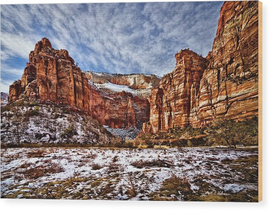 Zion Canyon In Utah Wood Print