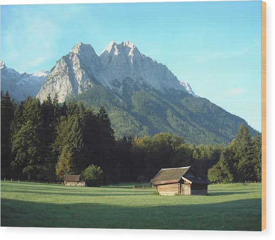 Zugspitz From Grainau Germany Wood Print