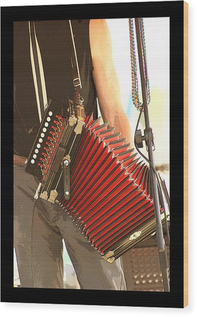 Zydeco Red Accordian Wood Print by Margie Avellino