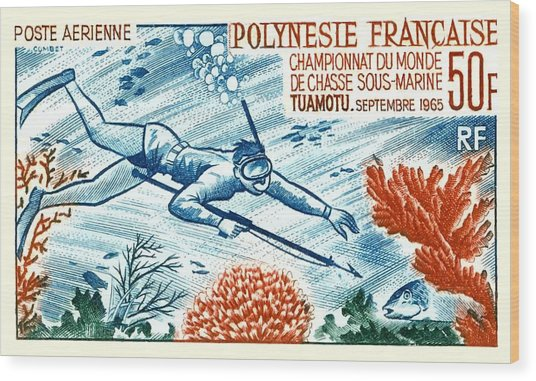 1965 French Polynesia Spearfishing Postage Stamp Wood Print