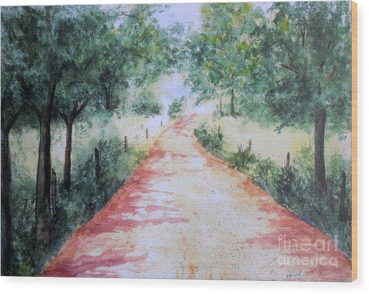 A Country Road Wood Print