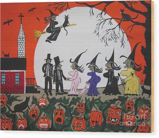 A Halloween Wedding Wood Print
