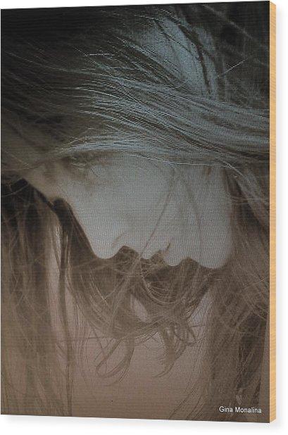 A Self Portrait Wood Print by Gina Monalina