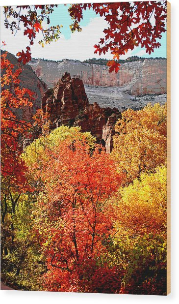 Autumn In Zion Wood Print